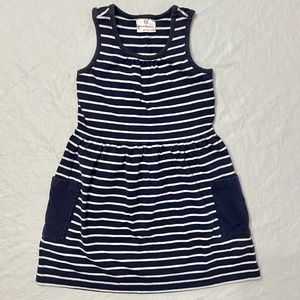 Hanna Andersson Striped Play Dress 110 5 Navy Blue